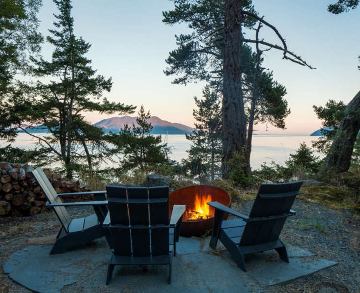 Loll's Adirondack chairs, made of recycled HDPE plastic(mostly single-usemilk jugs discarded by consumers), are perfect for rainy climates and require little maintenance. Here they are around a backyard fire pit in the San Juan Islands of Washington state. Photograph bySean Airhartcourtesy of Heliotrope Architects, fromOutdoor Furniture Spotlight: Colorful, Recycled Designs from Loll.