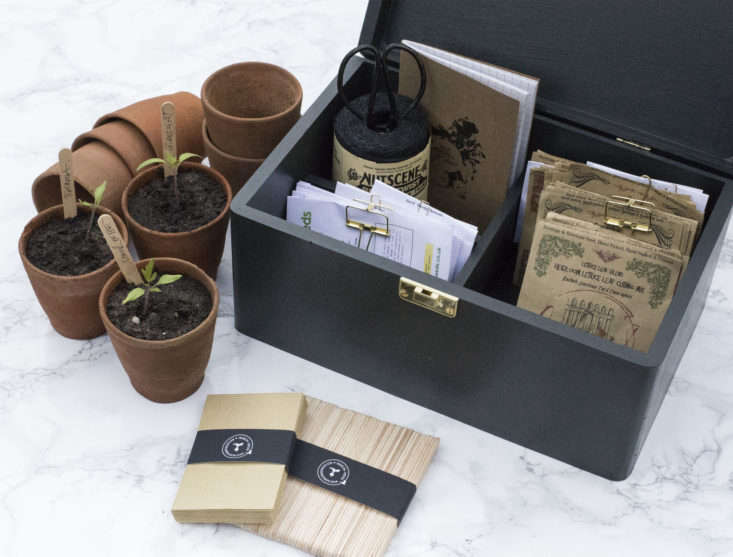 A Mighty Seed Box (shown in black) comes with a roll of black Nutscene twine, scissors, a notebook and pencil, 50 wooden seed labels, and  seed envelopes. It is£48.