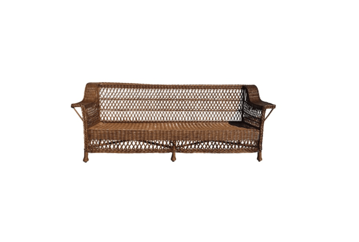 A one-of-a-kind Antique Bar Harbor Wicker Sofa is 85 inches long and is \$7,500 from \1st Dibs.