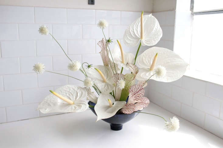 A white anthurium floral design by Sophia Moreno Bunge fromAnthuriums: Rethinking a Hotel Lobby Flower.