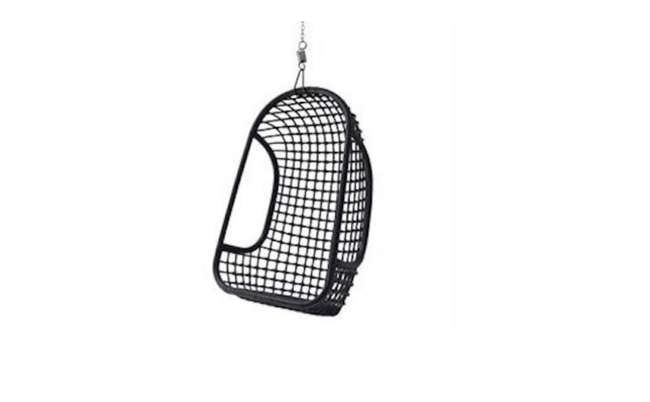 A Black Rattan Hanging Chair comes with a hook and chain; best stored in a dry spot, it is £\235 from Rockett St George.