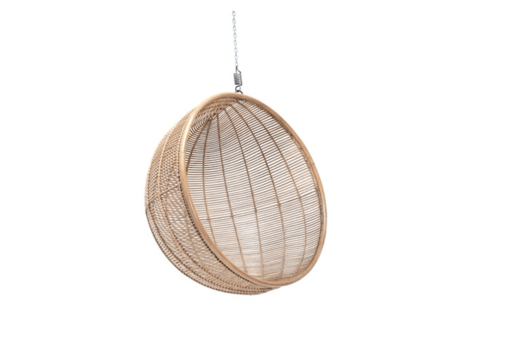 A natural Hanging Rattan Bowl Chair is£540 from Out There Interiors.