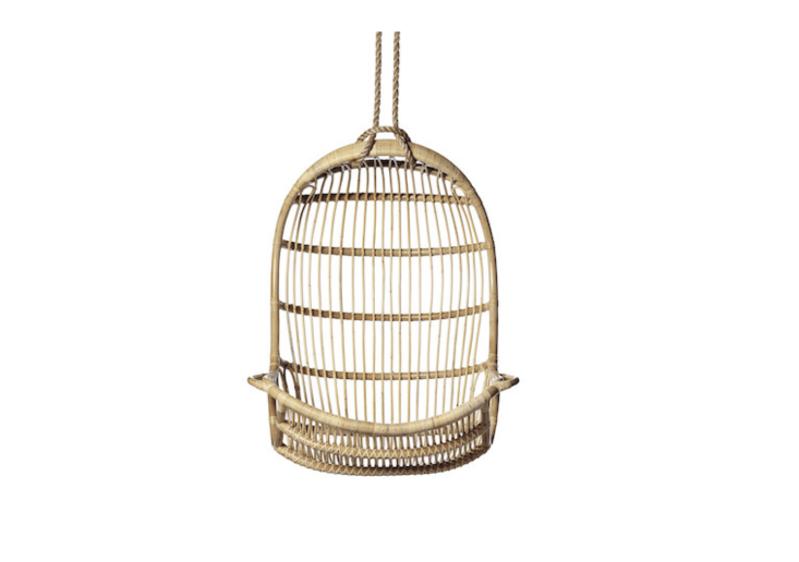 Made in Indonesia of hand-bent rattan, Serena and Lily&#8\2\17;sHanging Rattan Chairis suspended by a heavy-duty loop and rope (included); it&#8\2\17;s \$498.