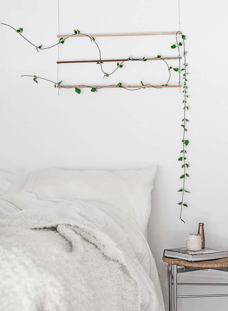 Blogger Agata Dimmich of Passion Shake made a DIY wall hanging to add a vine to a bedroom. For more, see DIY: An Indoor Trellis for Climbing Vines.