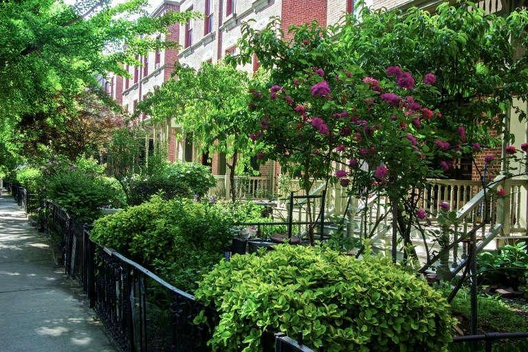sidewalk-gardens-new-york-iron-fence-townhouses-brick-facades-gardenista
