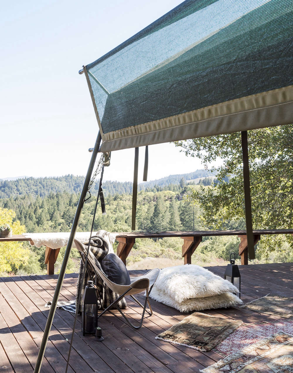 Glamping Deck in Napa with Butterfly Chairs and Pillows