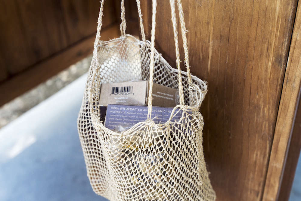 Jute Bag with Soaps and Toiletries
