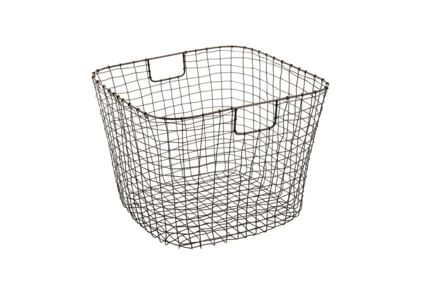 The Cabo Harvest Basket is  by  by .5 in. The hand-weaved wire basket is finished in a rust-proofing lacquer, ensuring it will last for many years; $5 from Design Ideas.