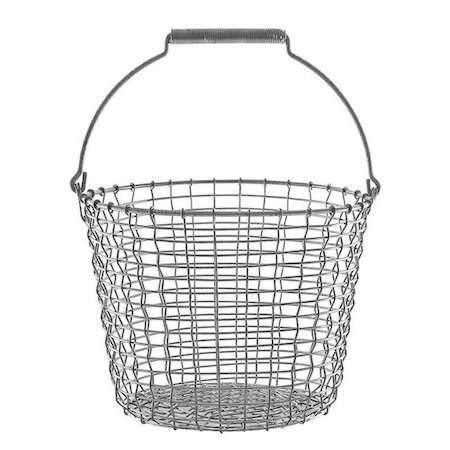 """Handmade in Sweden by Korbo, a -liter Galvanized Wire Bucket is woven from a single long strand of wire. """"There are simply no parts of the basket that can fall apart,"""" notes Finnish Design Shop; $7loading="""