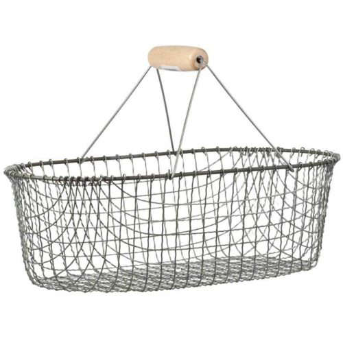 This Metal Harvest Basket allows you to wash and drain vegetables right in the basket. It measures .5 in long, .5 in wide, and 6. in high; $43.99 from Grow Organic.