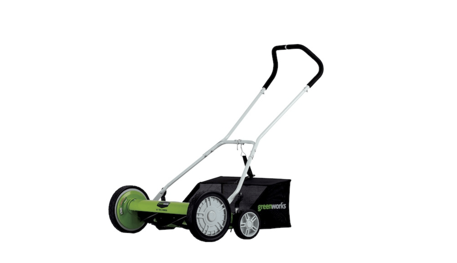 Suitable for medium-size gardens, a Greenworks -Inch Manual Reel Mower comes with a bag to catch grass; $src=