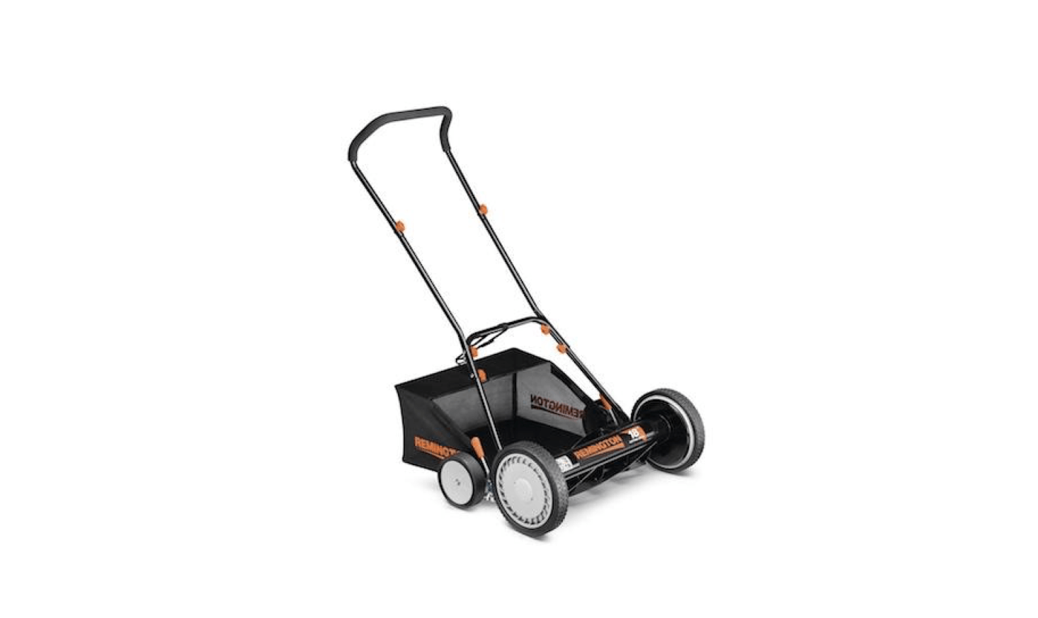 A Manual Walk Behind Non-Electric Reel Mower with an attached bag has an ergonomic handle and can adjust to different heights; $96. at Home Depot.