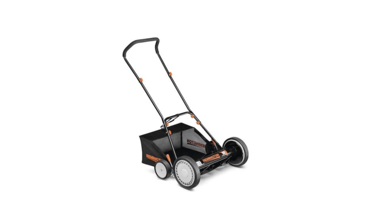 A Manual Walk Behind Non-Electric Reel Mower with an attached bag has an ergonomic handle and can adjust to different heights; \$96.\25 at Home Depot.
