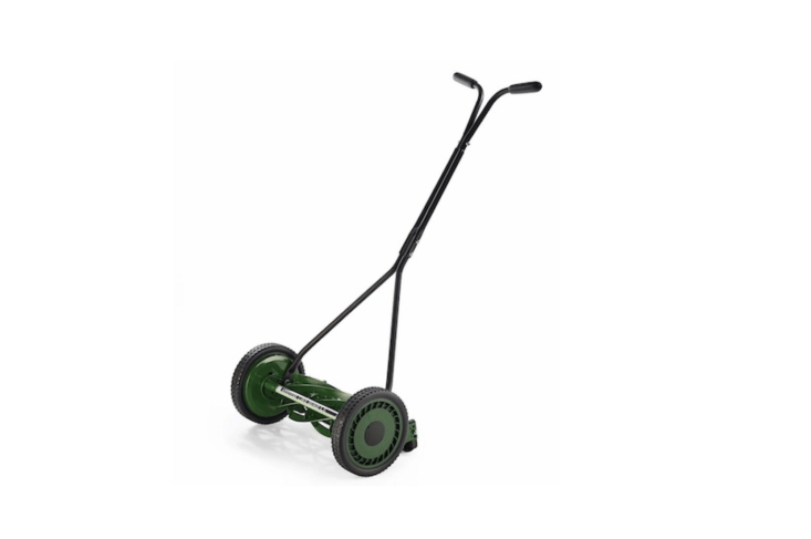 Made of powder-coated steel, aManually Operated Lawnmower has rubber-coated treads and measures about 44.5 inches high. It is€\273 at Manufactum.