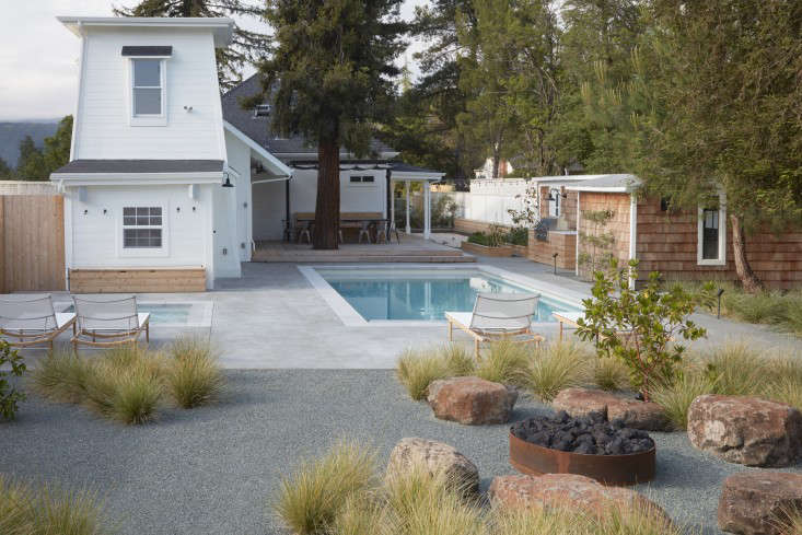 Sonoma backyard pool and fire pit designed by Terremoto