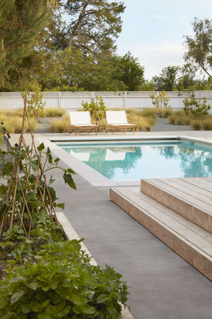 Raised vegetable beds alongside a pool and grasses in this Sonoma garden designed by Terremoto