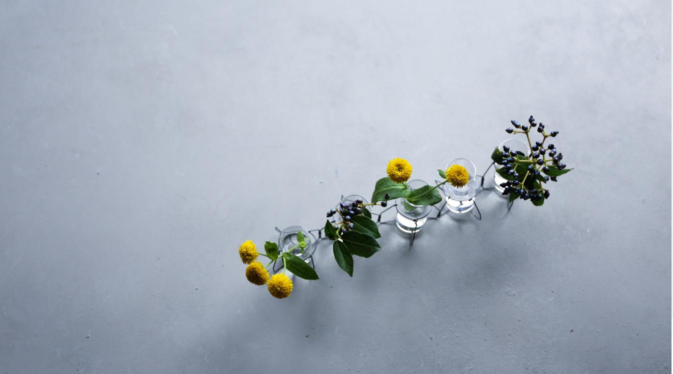 Five Peace Vase with Flowers by Yukiko Masuda