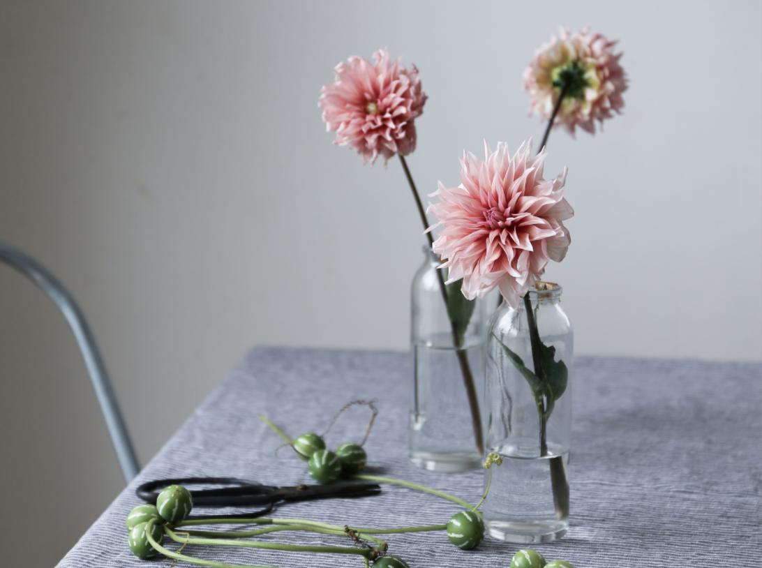 Pink Flowers in Vases by Yukiko Masuda