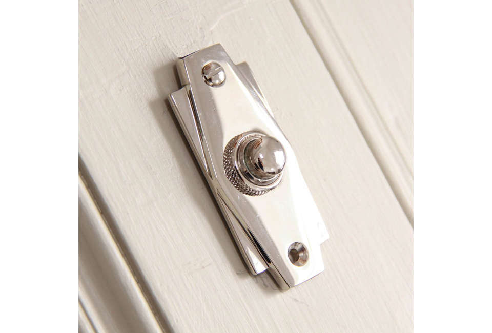 Art Deco Bell Push Polished Nickel from Willow & Stone