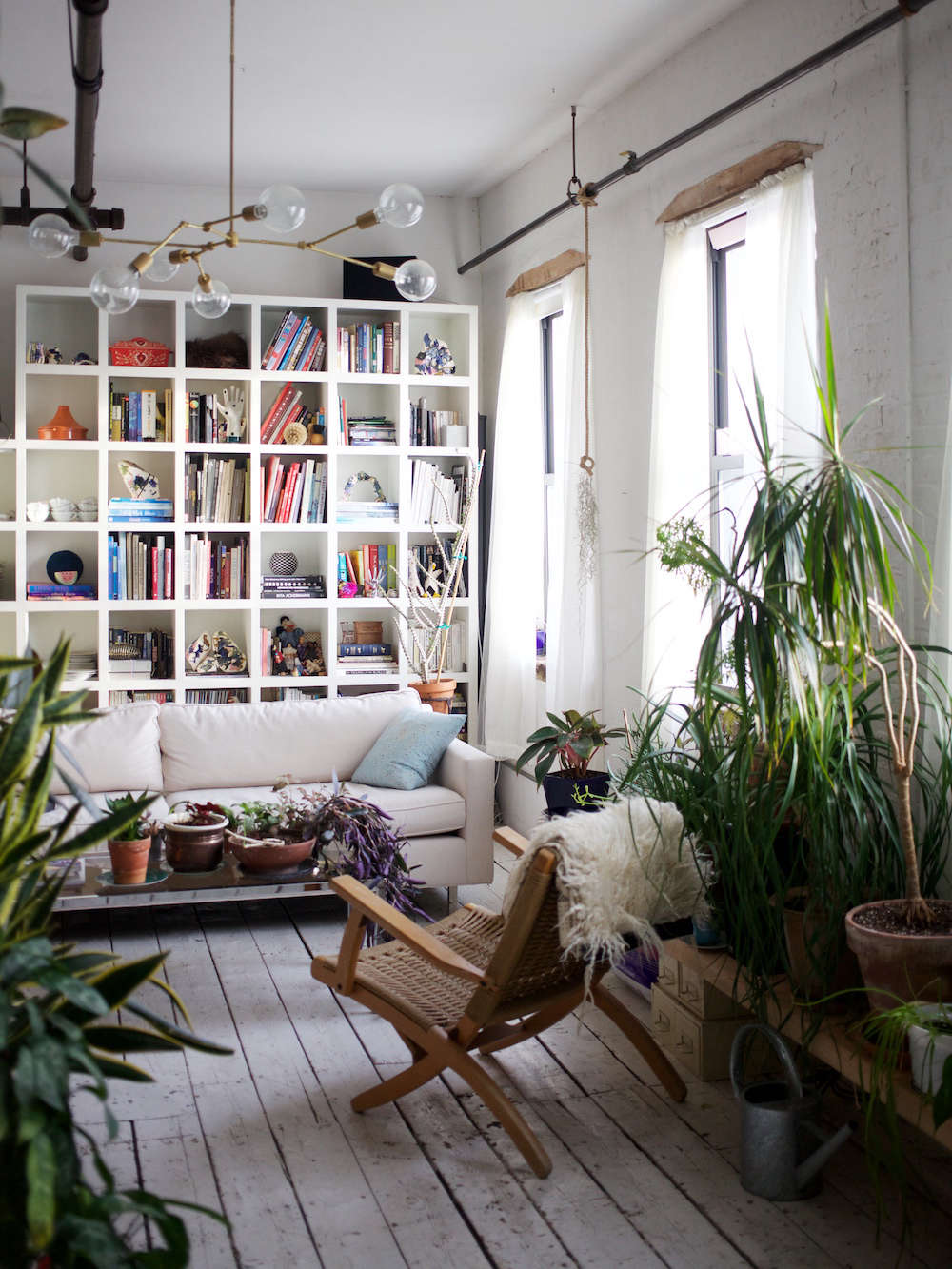 The living room of Shabd Simon-Alexander's former loft apartment in Williamsburg, where she lived for eight years, had about 80 houseplants. (She's now in Bedford-Stuyvesant.)
