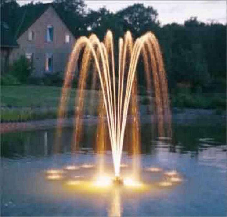 An Oase PondJet Floating Fountain comes with a pump, fountain float, power cord, and an arch nozzle capable of spraying water  feet into the air; $999.99 from Natural Waterscapes.