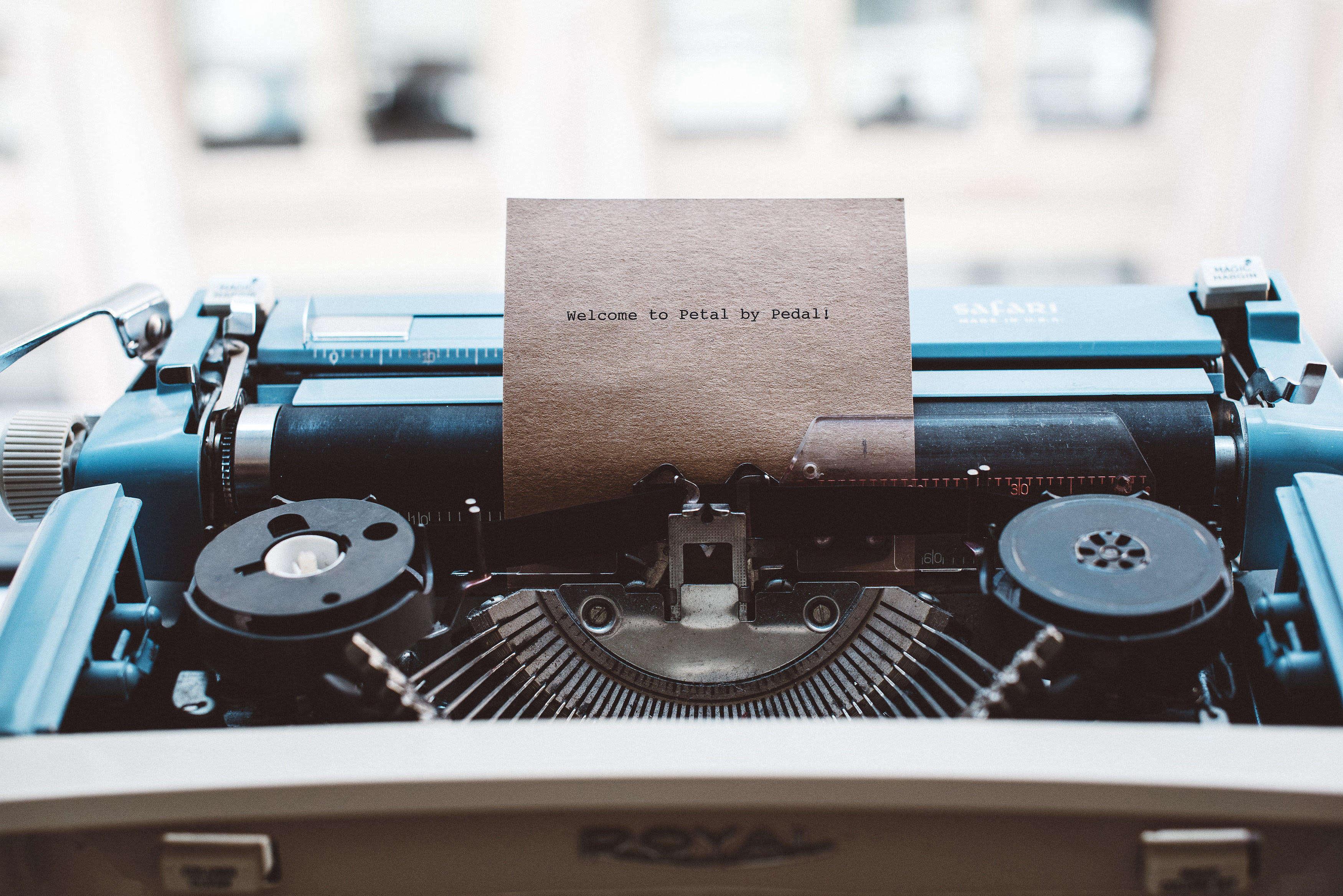 Petal by Pedal Card in Typewriter