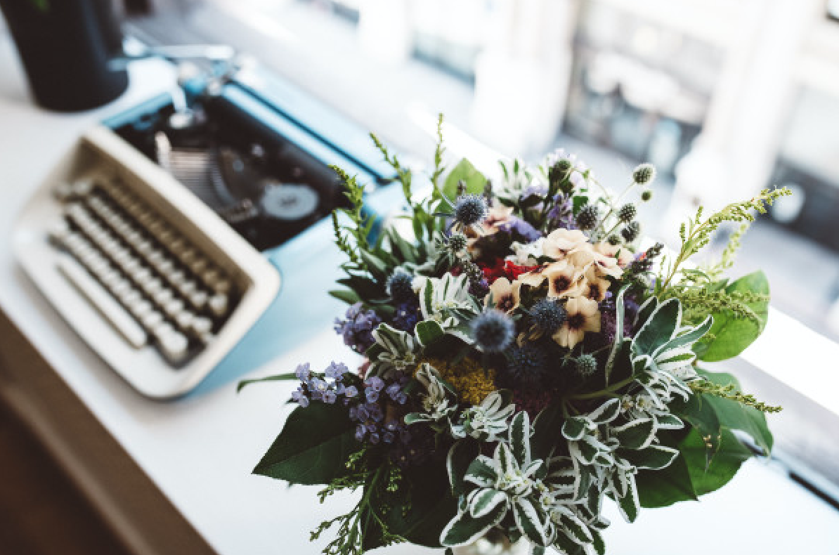 Petal by Pedal Typewriter with Bouquet
