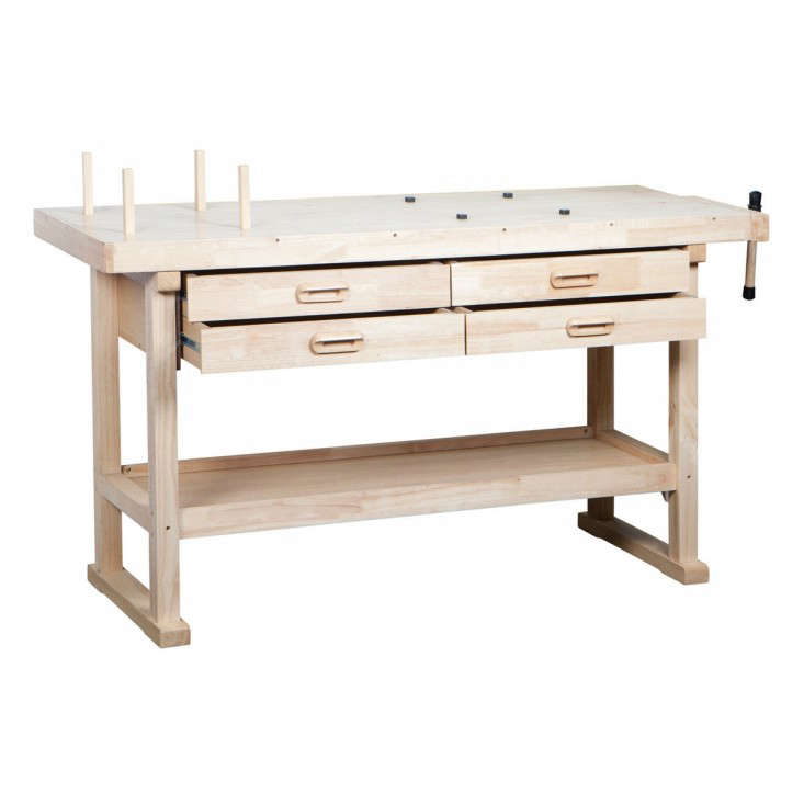 Wooden workbench four drawers shelf Harbor Freight