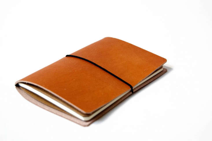 A minimal leather Field Notes Notebook Cover protects any pocket notebook from wear and tear. A notebook and cover are \$35 from LA-based \1.6\1 Soft Goods.
