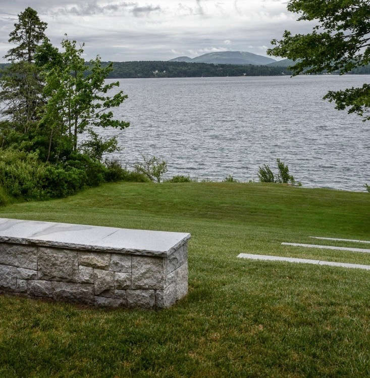 A granite pony wall creates seating for guests at landscape architect Matthew Cunningham's Maine garden. Photograph by Matthew Cunningham. For more, see Landscape Architect Visit: Clamshell Alley on the Coast of Maine.