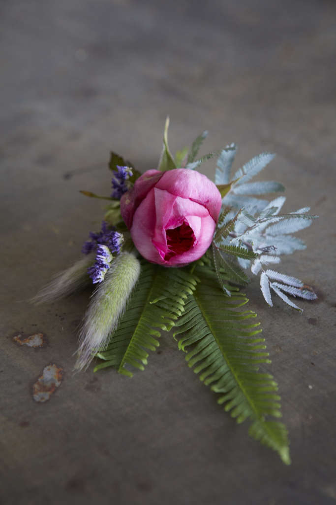 4.A simple scented garden rose buttonhole with foliage inspiration from fern, grass & lavender