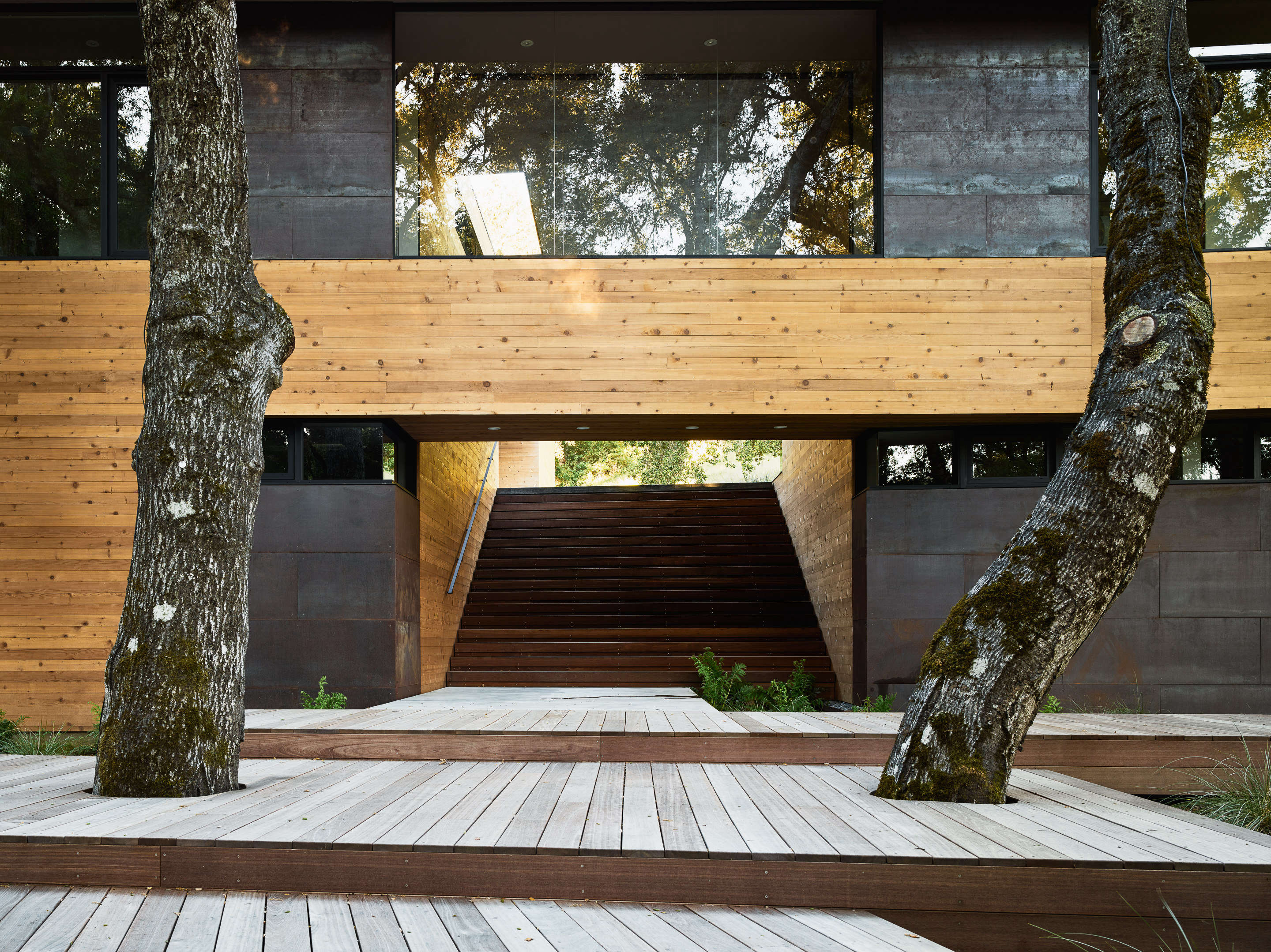 A three-tiered deck of batu wood leads to a &#8