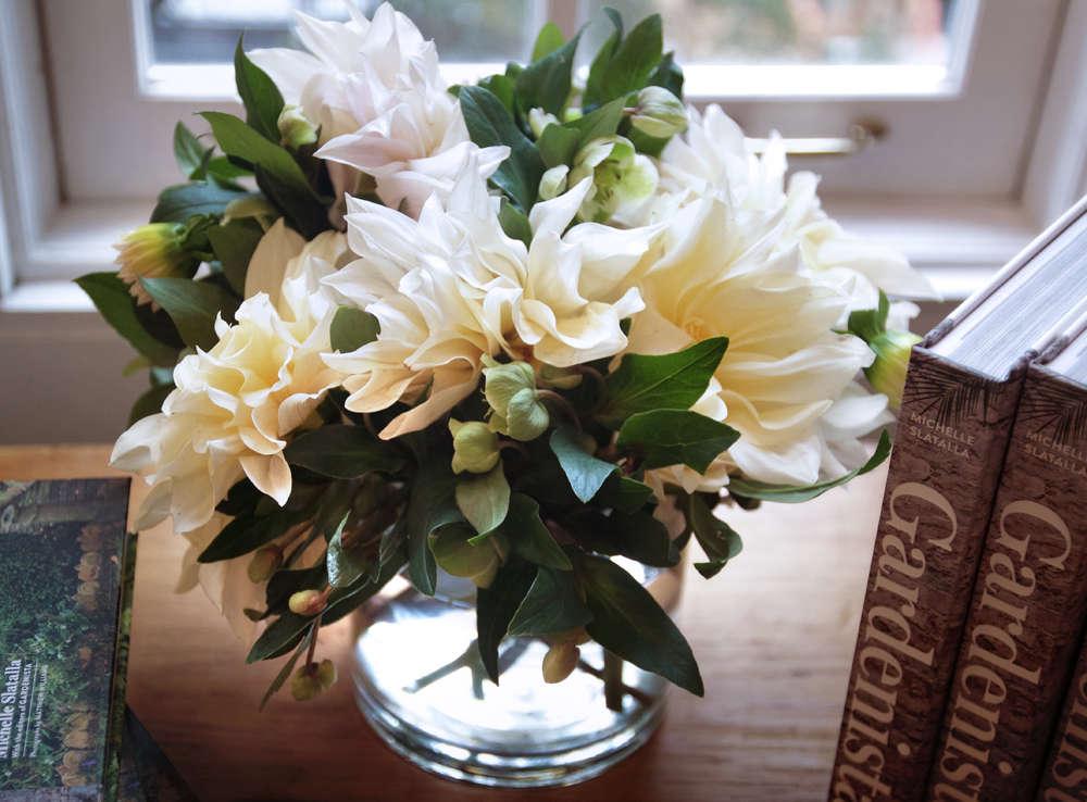dahlia and hellebore bouquet Gardenista