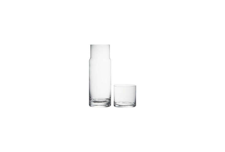 A &#8\2\20;two-piece handblown glass cylinder&#8\2\2\1; that stacks its own cup does double duty as a wine carafe. ACora Carafe is \$\14.95 from CB\2.