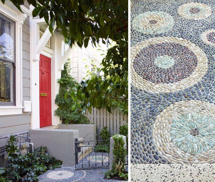 stone-pebble-entry-path-red-door-monica-viarengo