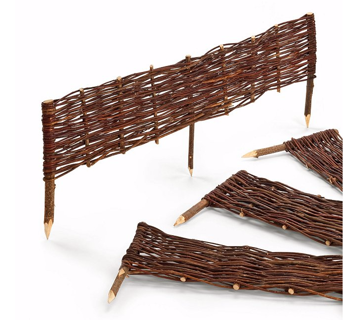 Designed to edge a vegetable bed, low sections ofWattle Fence Made Of Willow have pickets of untreated hazelnut wood; €\17.50 apiece from Manufactum.