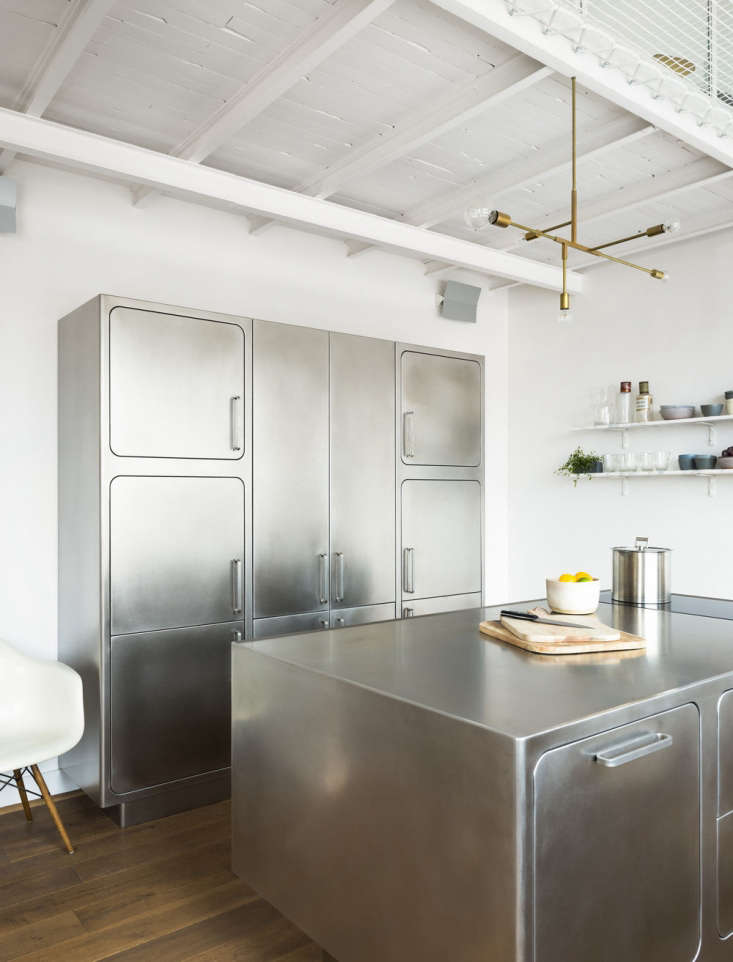 Meet the heavy metal kitchen. Our Kitchen of the Week(designed for a Paris apartment) is \100 percent stainless steel. Photograph courtesy of Abimis.