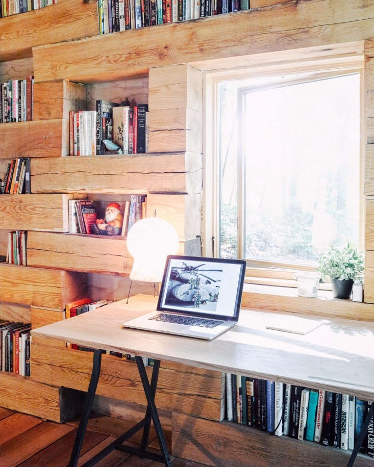 A modern touch: the cabin haswifi, enabling Koxvold to work remotely.