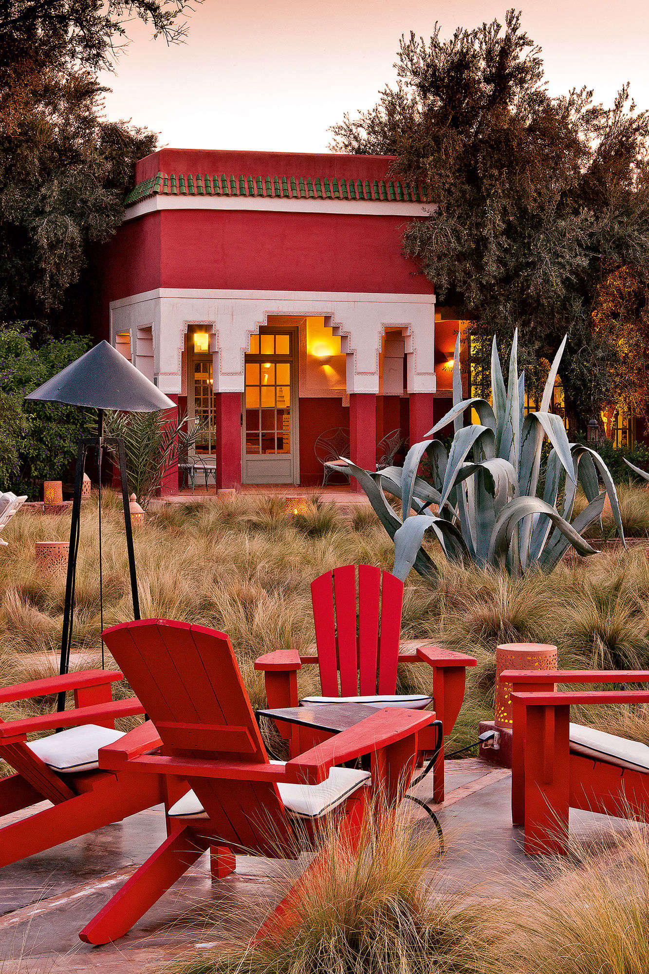 The Grass Garden at the Beldi Country Club, with a giant agave.
