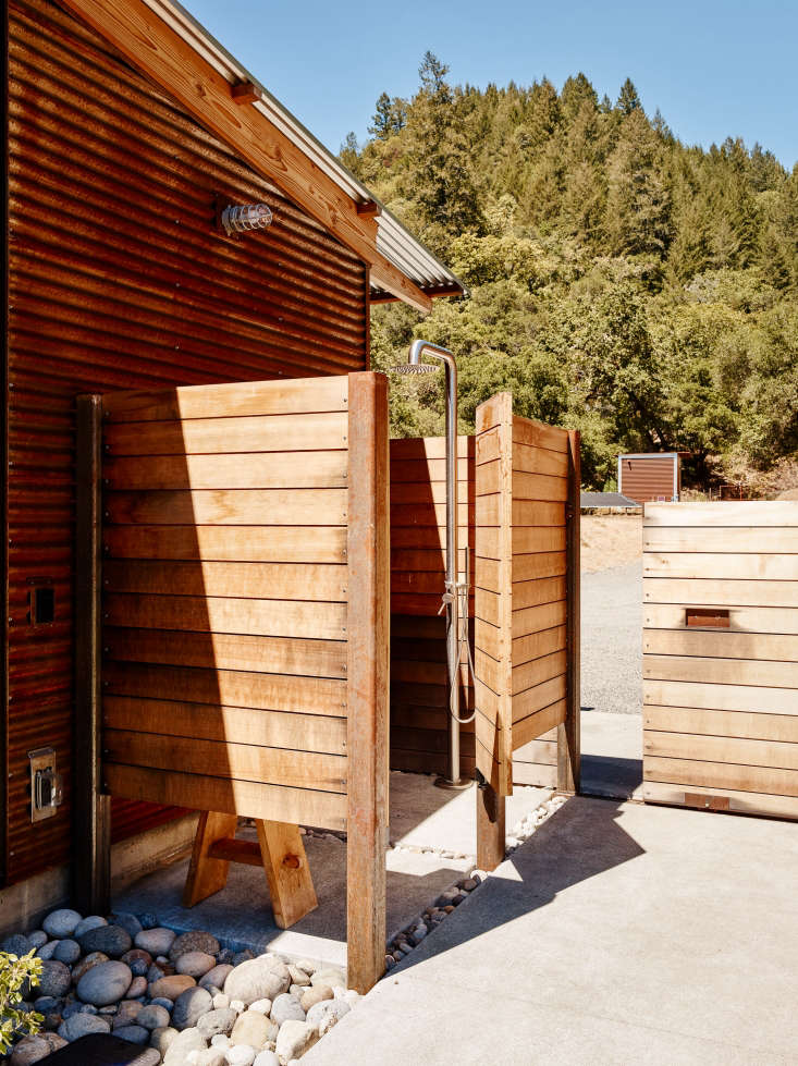 An ipe wood pool shower is tuckedaround the corner, and a rolling gate providesa means of egress from the pool pavilion.