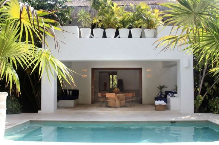 Above At Hotel Esencia near Tulum, Mexico the hotel offers two pool villas to accommodate large groups. The villas feature eight bedrooms (all with en-suite bathrooms), fully equipped kitchens, laundry areas, and a spacious indoor/outdoor living area. Photograph courtesy of Hotel Esencia.