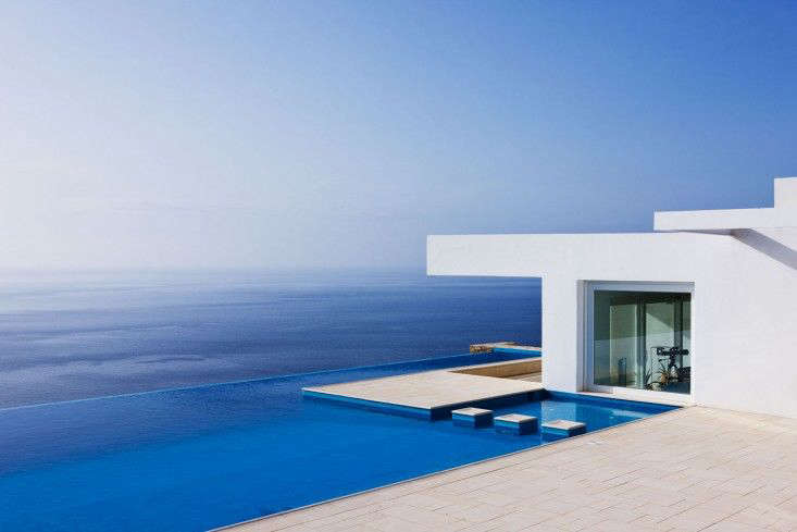 Infinity pool as Mediterranean muse. For more see Landscape Architect Visit: Thomas Doxiadis on Antiparos. Photograph by Clive Nichols.