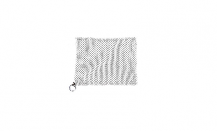 The Ringer, a stainless steel chain link scrubber for cast iron pans, is $loading=