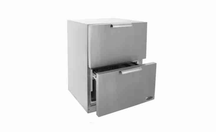 From DCS, a set of two stainless steel \24-inch Outdoor Refrigerator Drawers is \$3,799 from BBQ Guys.