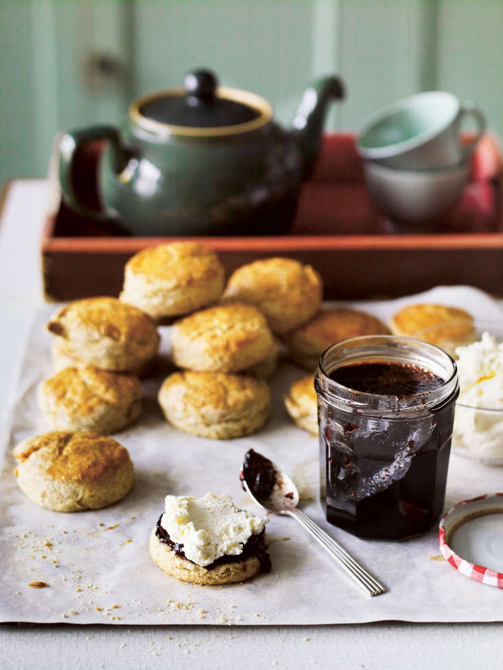 Homemade scones and jam from plums grown at Great Dixter.