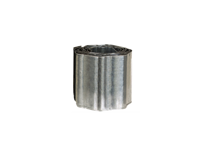 A more economical metal alternative is Gardman's Galvanised Lawn Edging ((£\14.99 for a 5-meter roll), which is a corrugated roll which is also sunk into the edge of the lawn. It can be cut to size.