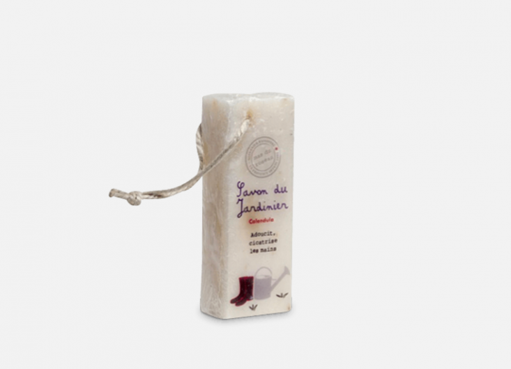 Soap on a rope for the gardener: a bar of The Gardener Soap, handmade of essential vegetal oils, is €8 from Merci.