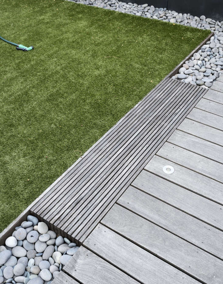Farris installed artificial turf to create a play area for her kids.