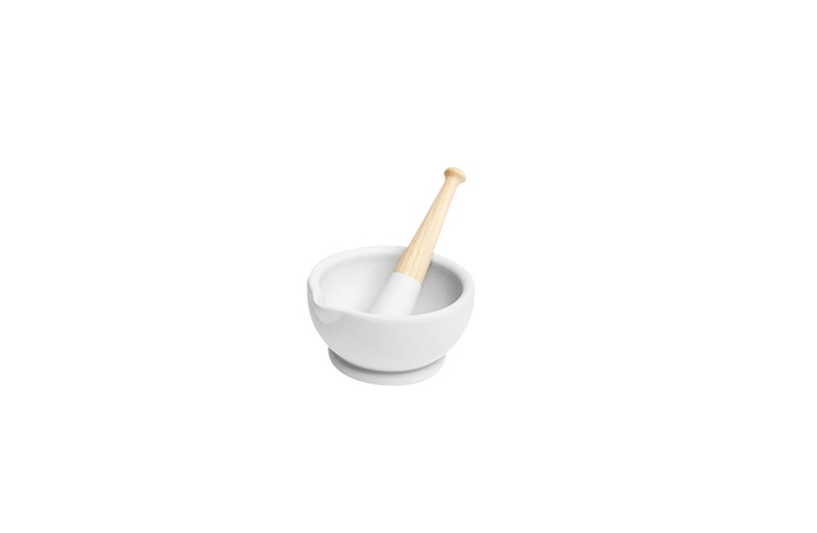 A porcelain Mortar And Pestle is $49.95 from Williams-Sonoma.