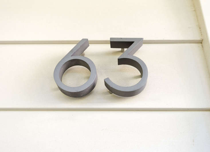 Neutra Modern House Numbers are available in two sizes and three finishes including aluminum (shown) and are on sale for from \$\2\2.95 to 33.\15 depending on size from Design Within Reach.